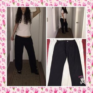 Black and pink rock and roll comfy sweat pants  L